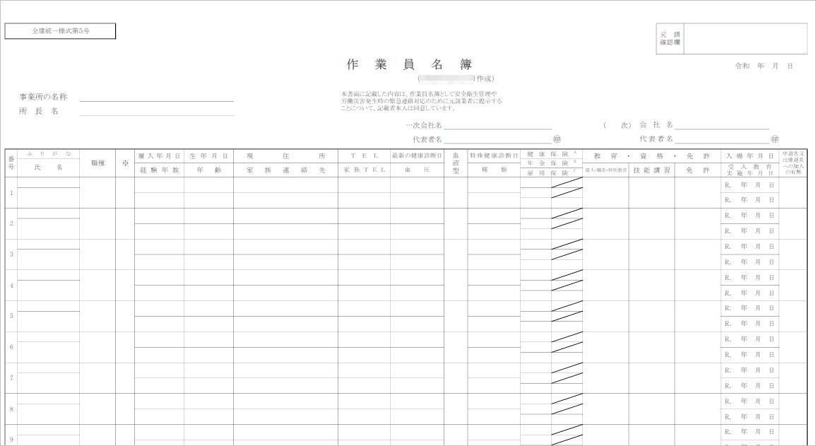 作業員名簿